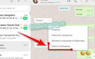 Удаление сообщений у себя и у собеседника в WhatsApp