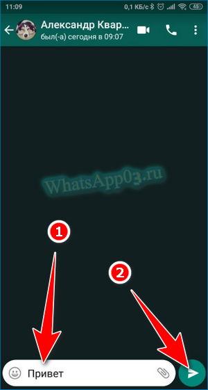 Написать СМС Вацап