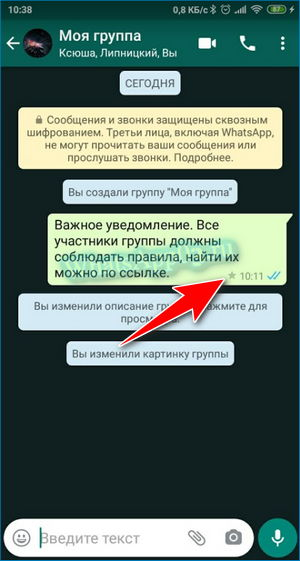 Отметка в SMS Вацап