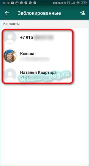 Список заблокированных Вацап
