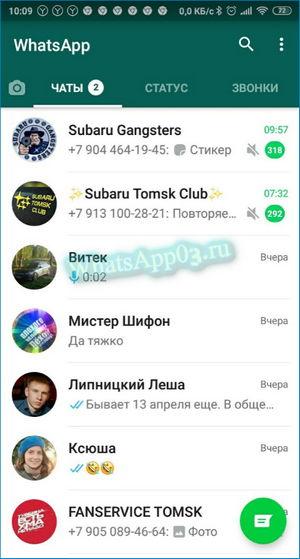 Интерфейс Вацап