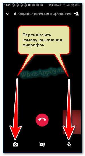 Меню звонка Вацап